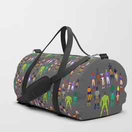 Superhero Butts - Power Couple on Grey Duffle Bag