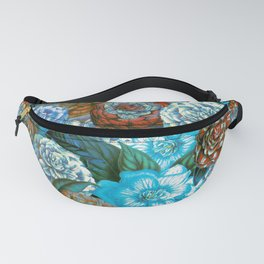 Vintage & Shabby - blue floral camellia flowers watercolor pattern Fanny Pack