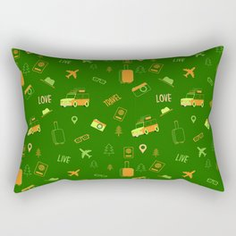 Live Travel Love Pattern - Green Rectangular Pillow