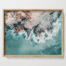 Ocean Print, Ocean Art, Printable Art, Waves Print, Ocean Rocks, Aerial Photography, Coastal Ocean Printable Wall Art Serving Tray