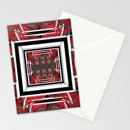 NUMBER 221 RED BLACK GRAY WHITE PATTERN Stationery Cards