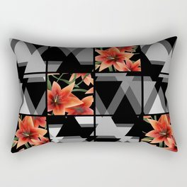 "From the series "" Favorite patchwork "". Lilies on black. Rectangular Pillow"