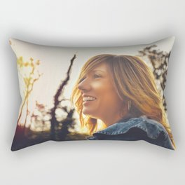 Lovely young woman in the Natural Park of Ticino Rectangular Pillow