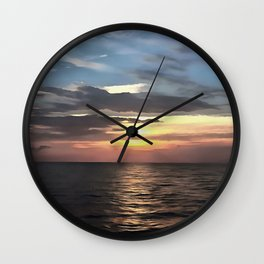 Pefect Living Coral Colored Ocean Sunrise Wall Clock