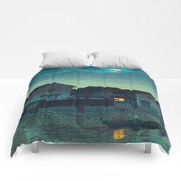 Kawase Hasui Vintage Japanese Woodblock Print Japanese Village Under Moonlight Cloudy Sky Comforters