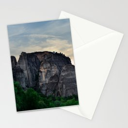The hills of Meteora, Greece, with a painted sky Stationery Cards