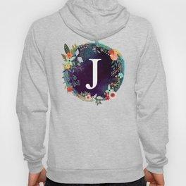 Personalized Monogram Initial Letter J Floral Wreath Artwork Hoody