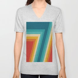 Colorful Retro Stripes  - 70s, 80s Abstract Design Unisex V-Neck