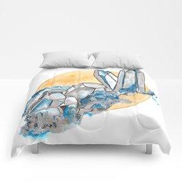 Blue Metallic Crystals Comforters