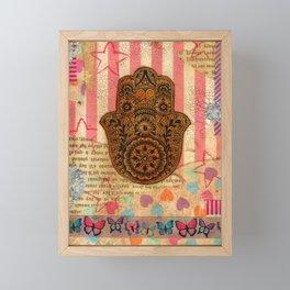 Hearts and Butterfly Hamsa Framed Mini Art Print