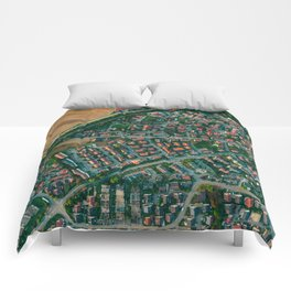 Farm vs City Aerial (Color) Comforters