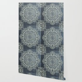 Mandala Vintage Ivory Blue Wallpaper