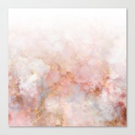 Beautiful Pink and Gold Ombre marble under snow Canvas Print