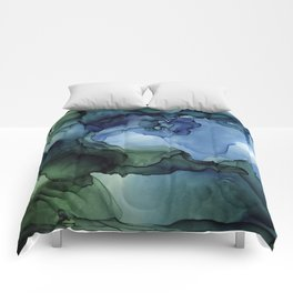 Blue Green Waves Abstract Ink Painting Comforters
