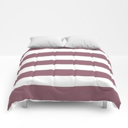 Raspberry glace - solid color - white stripes pattern Comforters