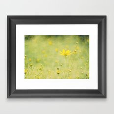 Green with buttercups Framed Art Print