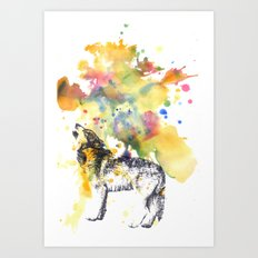 Howling Wolf in Splash of Color Art Print