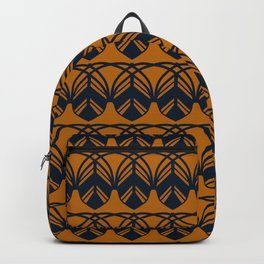 GATHER dark navy and mustard gold feather pattern Backpack