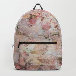 Vintage elegant blush pink collage floral typography Backpack