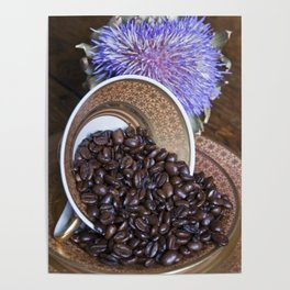 COFFEE BEANS with Blue Artichoke Poster