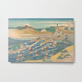 Fuji Seen from Kanaya on the Tōkaidō, Series Thirty-six Views of Mount Fuji by Katsushika Hokusai Metal Print