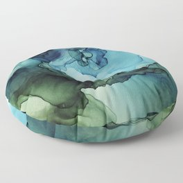 Land and Water Abstract Ink Painting Blues and Greens Floor Pillow