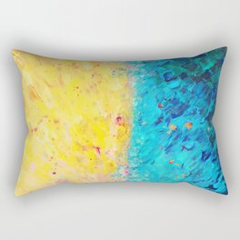 THE DIVIDE - Stunning Bold Colors, Ocean Waves Sun, Modern Beach Chic Theme Abstract Painting Rectangular Pillow