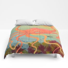 safety orange octopus Comforters