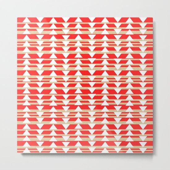 Tribal- Red & White Metal Print