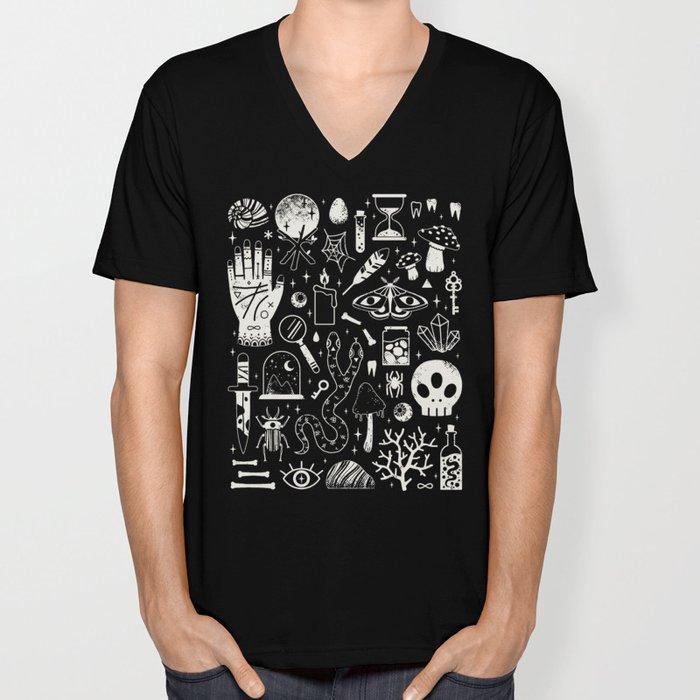 Curiosities: Bone Black Unisex V-Neck