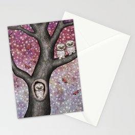 enchanted owls, moths, stars Stationery Cards