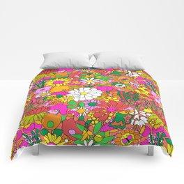 60's Groovy Garden in Neon Peach Coral Comforters
