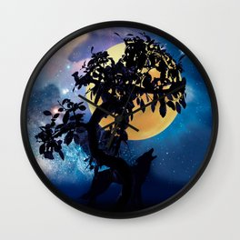 Wolf howling at the full moon Wall Clock
