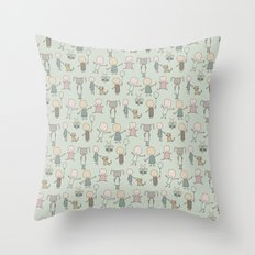 Children Playing-on Mint Throw Pillow
