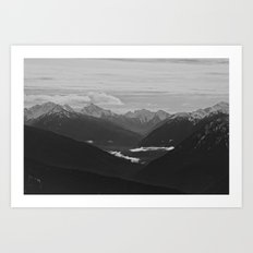 Mountain Landscape Black and White Art Print