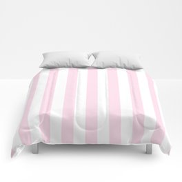 Simple Pink and White stripes, vertical Comforters