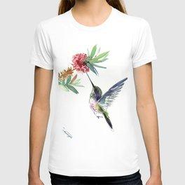 Hummingbird. elegant bird and flowers, minimalist bird art beautiful bird painting T-shirt