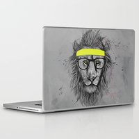 lion Laptop & iPad Skins featuring hipster lion by Balazs Solti