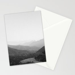 Black and white Atlas Mountains of Ourika Morocco Stationery Cards