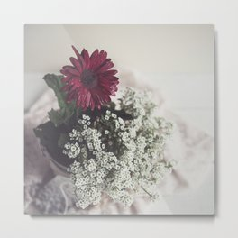Soft Focus Red Daisy Metal Print