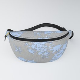 Pale Blue Floral Pattern on Medium Grey Burlap Texture Vector Art Fanny Pack