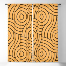 Circle Swirl Pattern VA Bright Marigold - Spring Squash - Pure Joy - Just Ducky Blackout Curtain