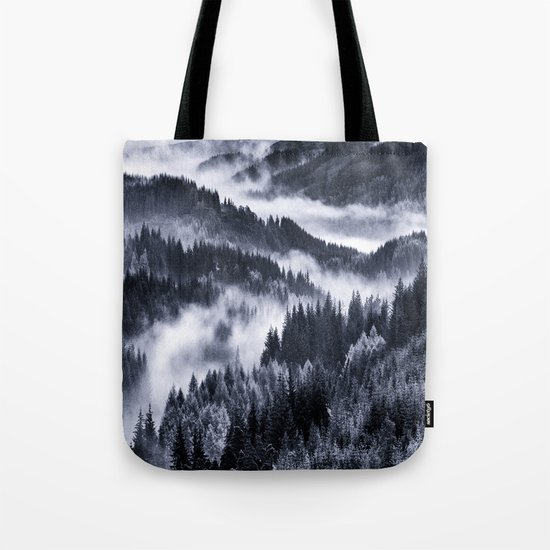 Misty Forest Mountains Tote Bag