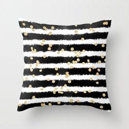Modern black watercolor stripes chic gold confetti Throw Pillow