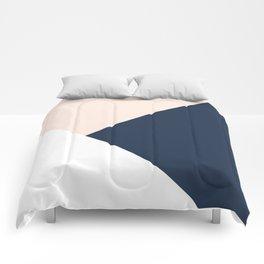 Blush meets Navy Blue & White Geometric #1 #minimal #decor #art #society6 Comforters