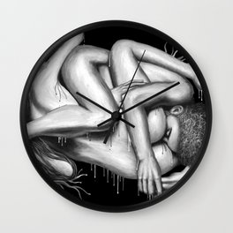 69 Sixty-nine black&white - Erotic Art Illustration Nude Sex Sexual Love Lovers Relationship Couple Wall Clock