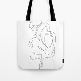 Lovers - Minimal Line Drawing Tote Bag