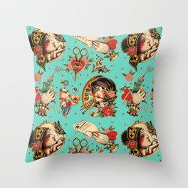 Makers Gonna Make Pattern Teal Throw Pillow