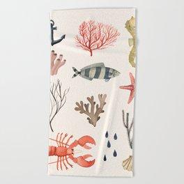 Sealife Schoolchart Beach Towel