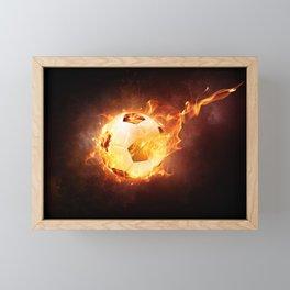 Fire Football Soccer Sport Framed Mini Art Print